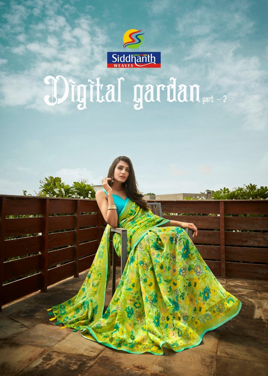 Siddhanth Weaves Digital Garden Part 2 Linen Base Casual Wear Saree Wholesaler