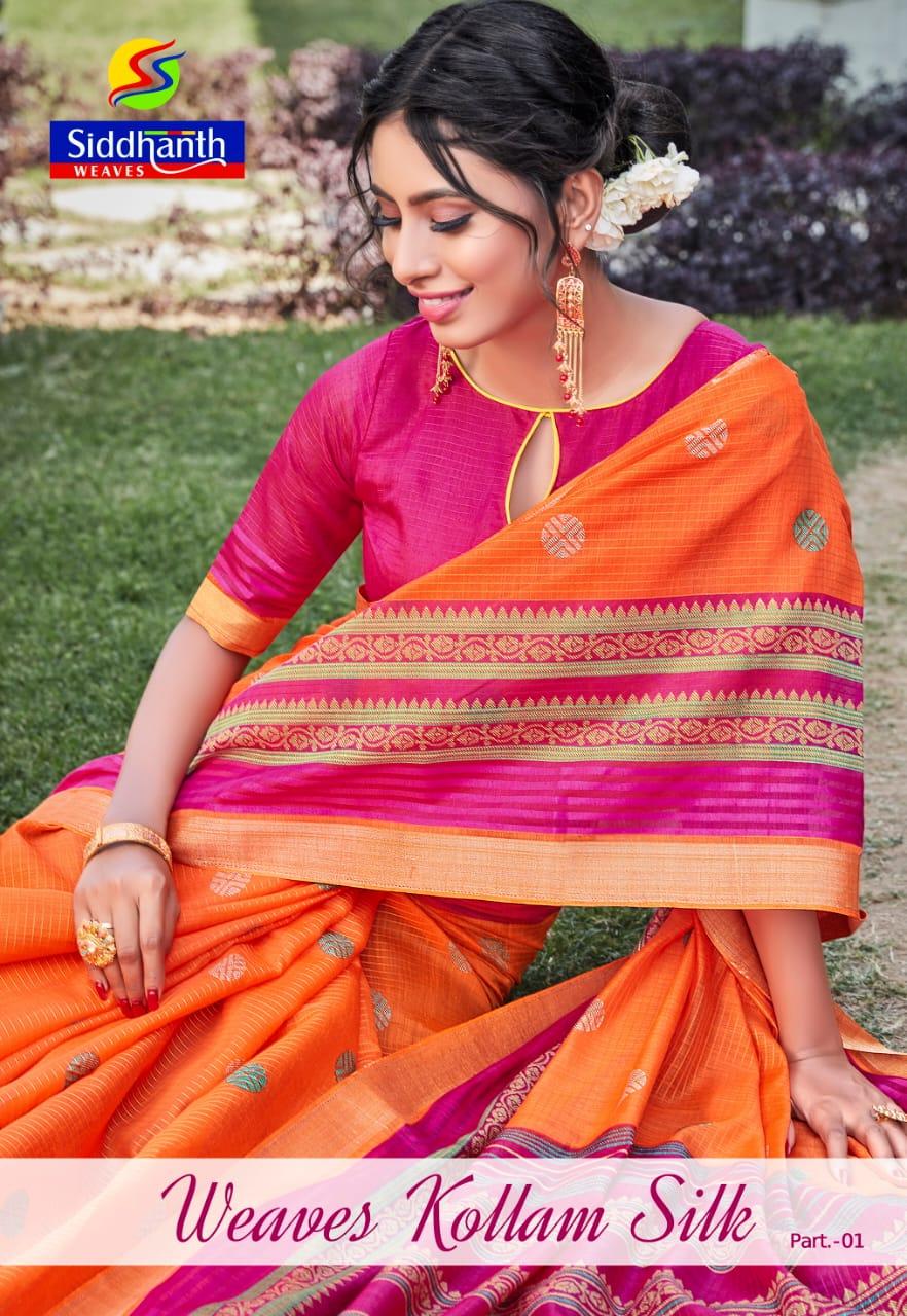 Siddhanth Weaves Kollam Silk Part 1 South Indian Fancy Saris Wholesaler