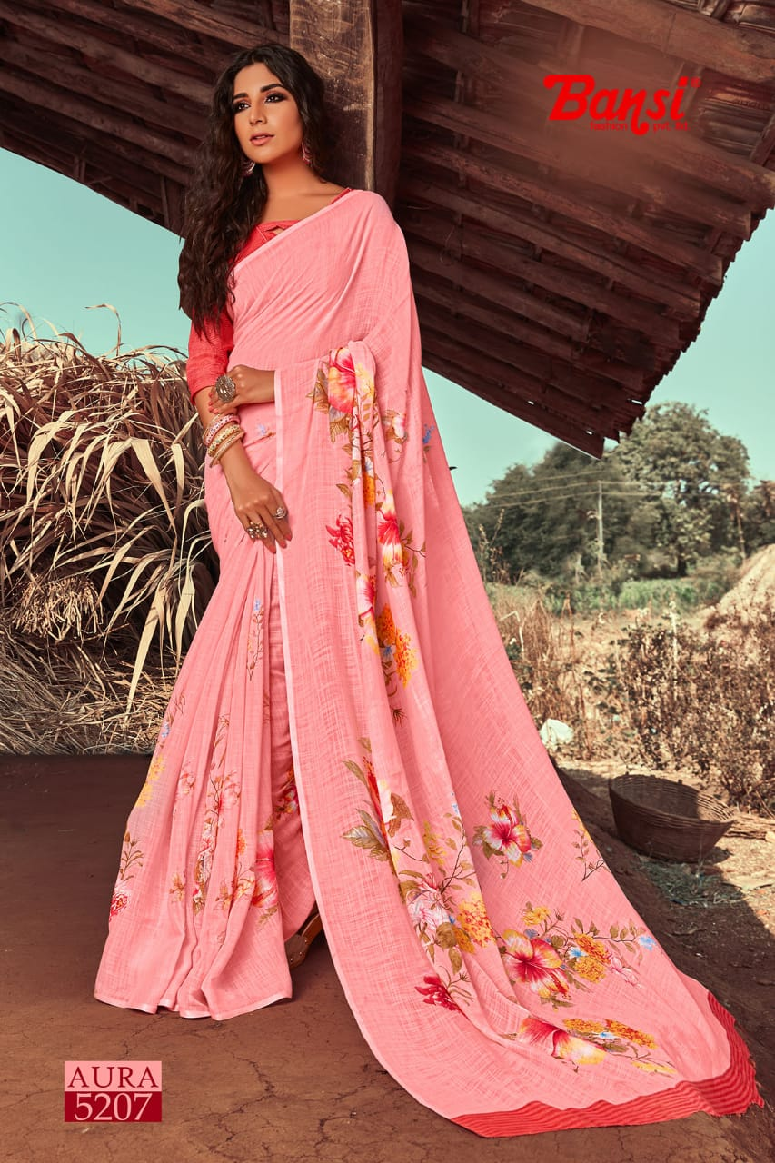 Bansi Fashion Aura Plain Linen Printed Stylish Saree Catalogs Collections