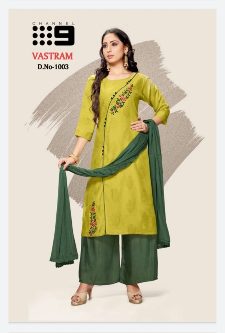 Channel 9 Vastram Chanderi Silk Modal Top With Exclusive Dupatta With Bottom Readymade Collections