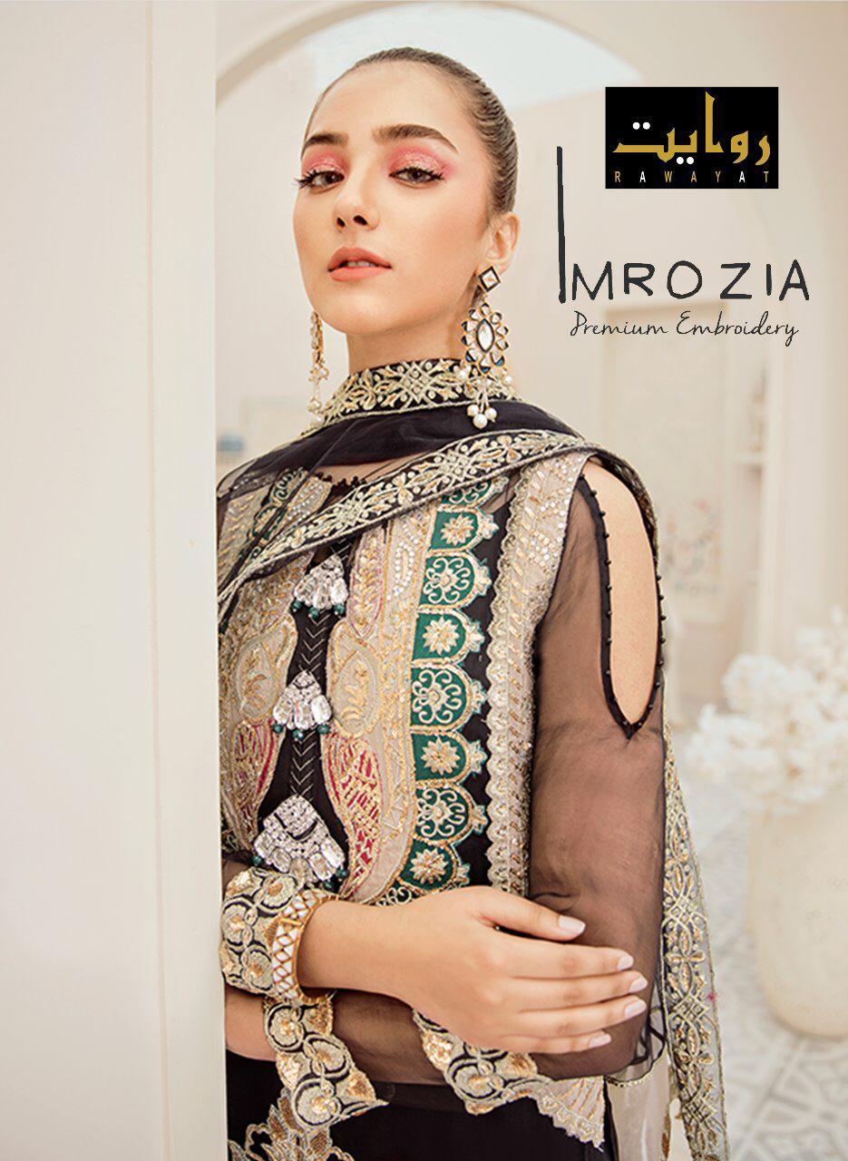 Imrozia Chiffon 2020 By Rawayat Georgette Heavy Embroidery Pakistani Salwar Suits