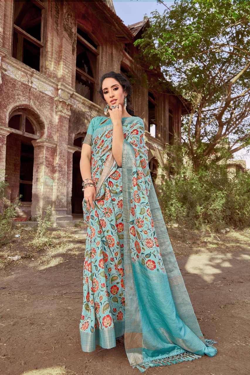Irra By Bansi Fashion Linen Kora Cotton With Border Digital Style Saree Supplier