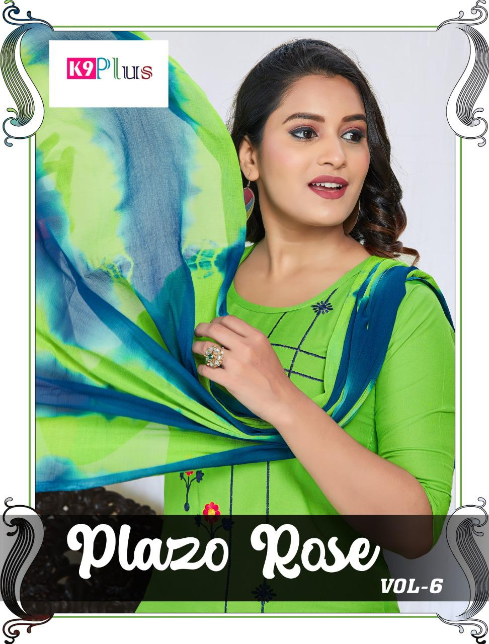 K9 Plus Plazo Rose Vol 6 Top Palazzo With Dupatta 3 Piece Readymade Collection