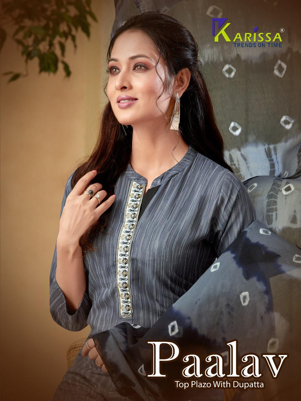Karissa Launch Paalav Fancy Weaving Top With Rayon Plazzo With Dupatta Readymade Collections