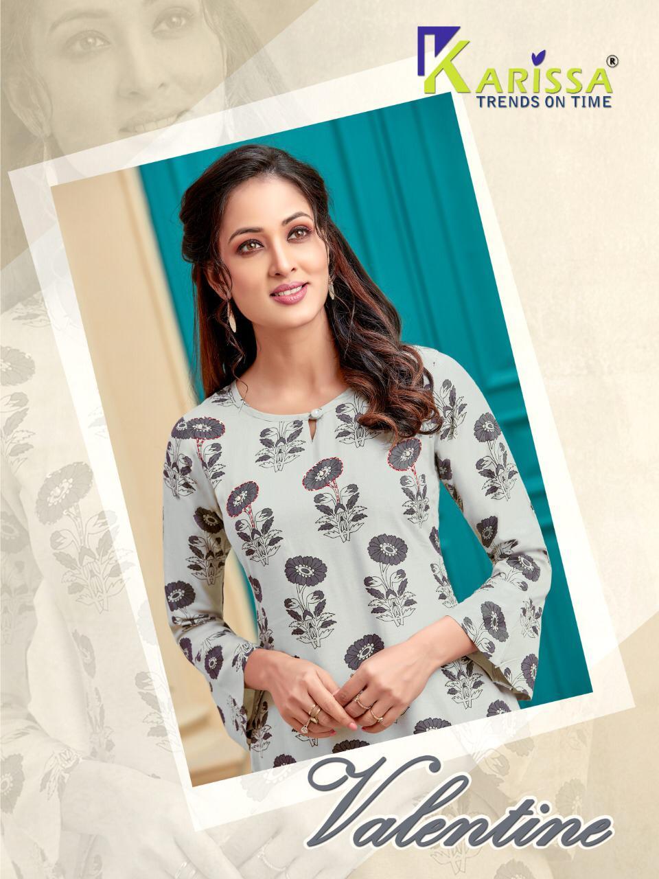 Karissa Present Valentine Rayon Print Comfortable To Wear Kurti With Plazzo