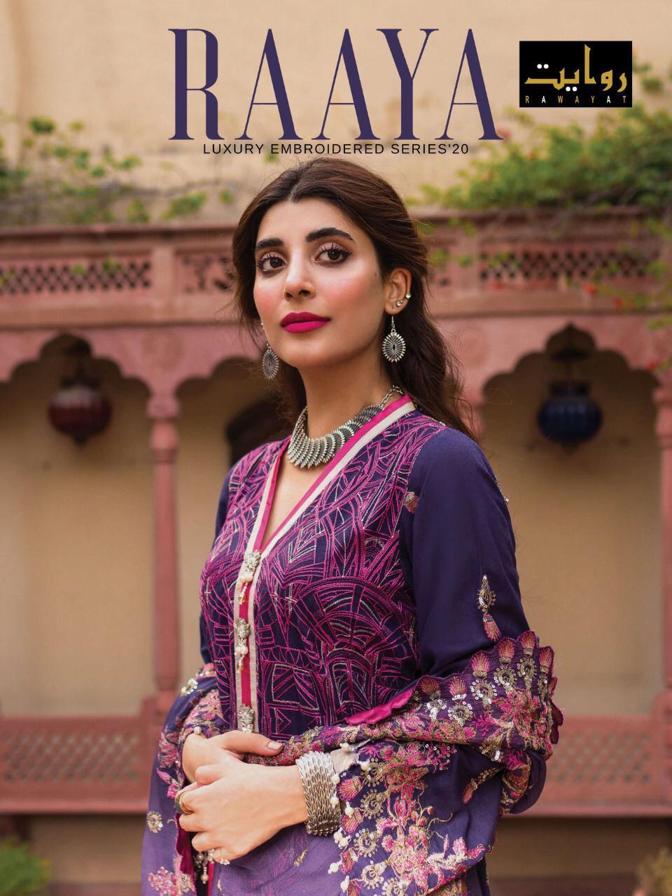 Rawayat Launch Raaya Pure Jam Self Embroidery Pakistani Suits