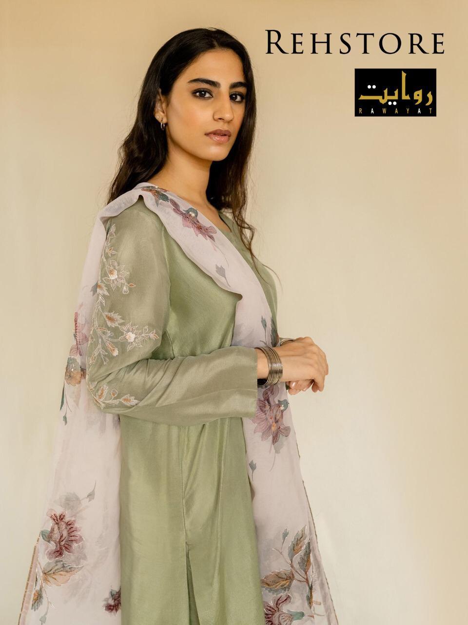 Rehstore By Rawayat Jam Silk Heavy Embroidery Salwar Suit At Wholesale Rate