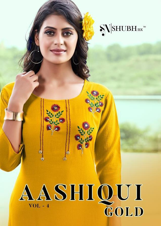 Shubh Nx Aashiqui Gold Vol 4 Rooby Slub Daily Wear Kurti Catalogs Collections