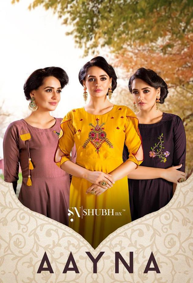 Shubh Nx Aayna Vol 1 Chinon Heavy Handwork Long Gown Style Kurti Catalogs