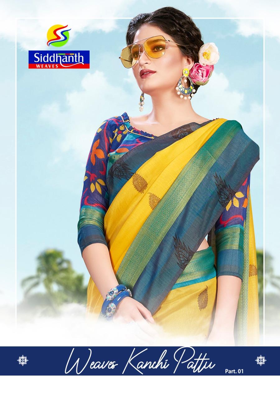 Siddhanth Weaves Kanchi Pattu Part 1 South Stylish Fancy Saree Authorized Supplier
