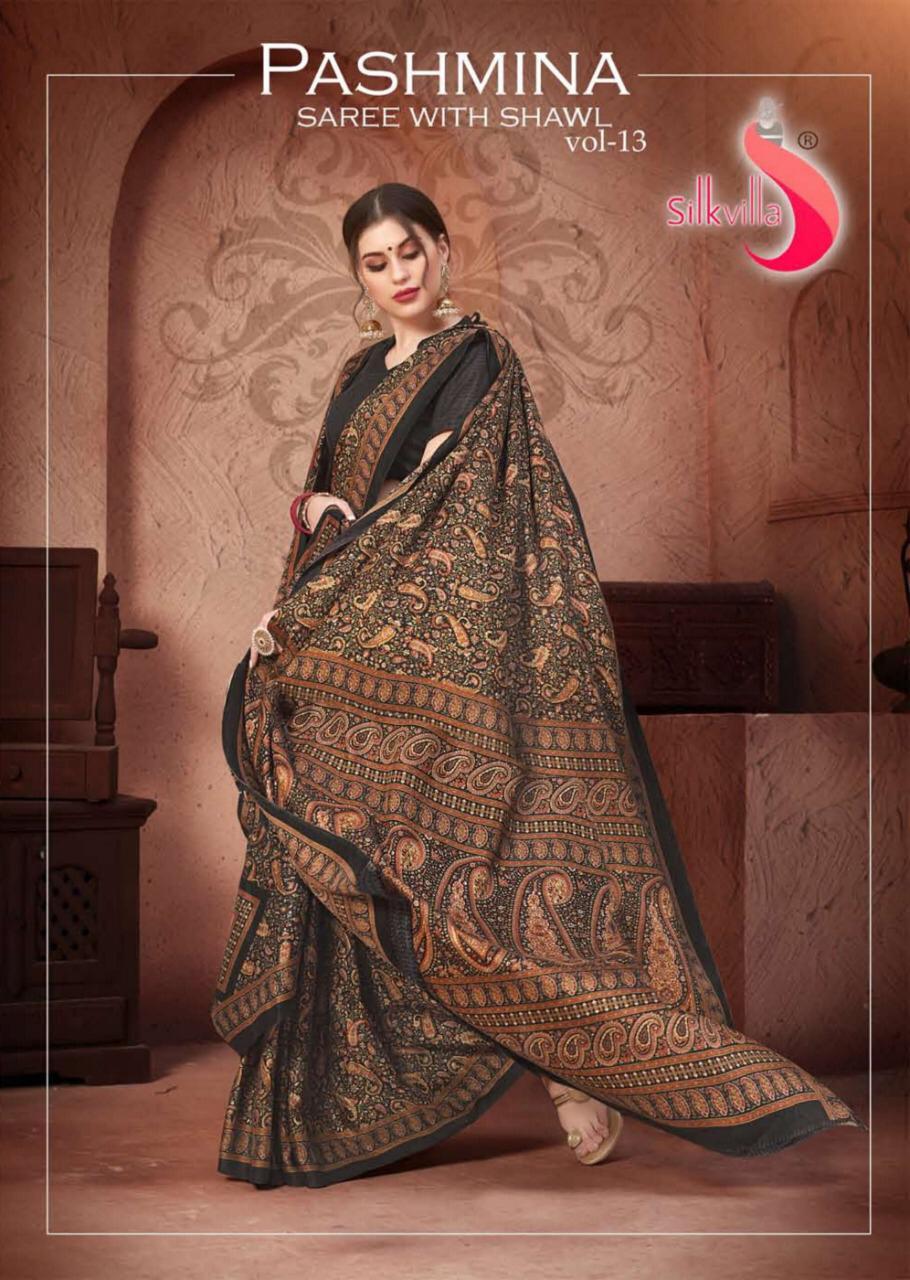 Silk Villa Pashmina Saree With Shawl Vol 13 Printed Weanter Wear Saree