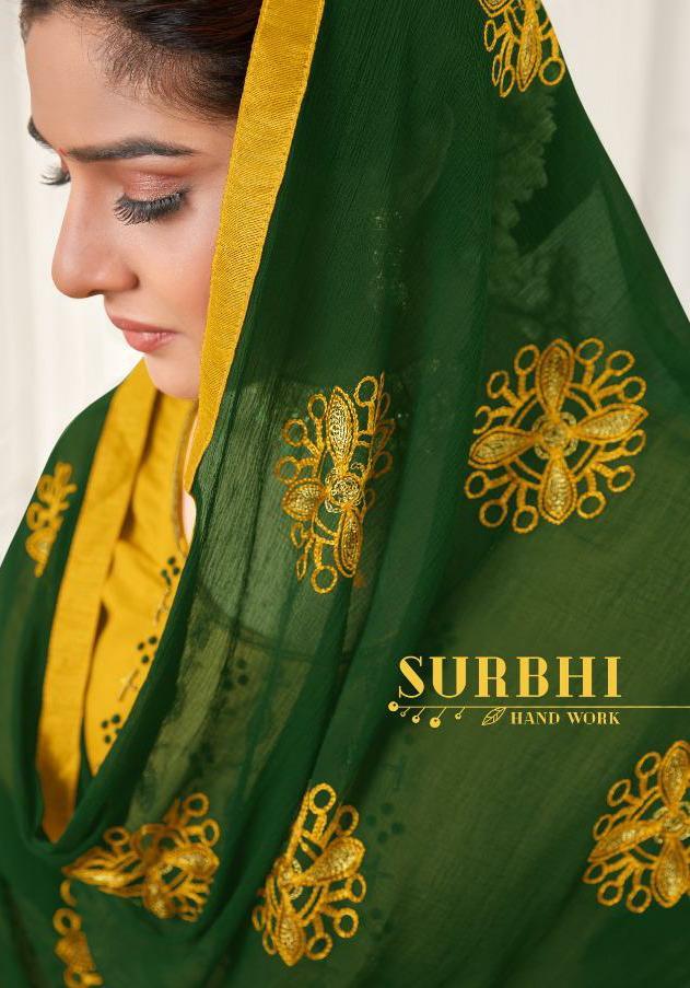 Avc Launching Surbhi Heavy Cotton Slub Handwork Chudidar Pattern Suits