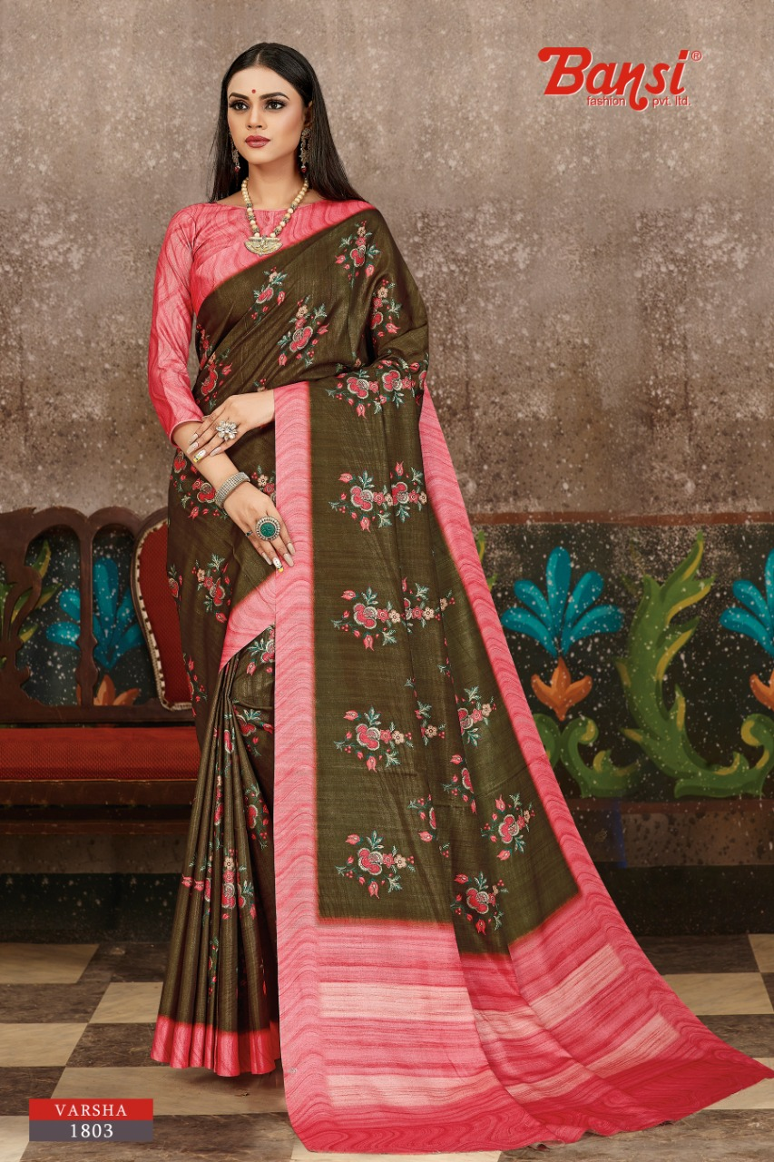 Bansi Fashion Presenting Varsha New Colour Collection Silk Exclusive Saree At Best Rate