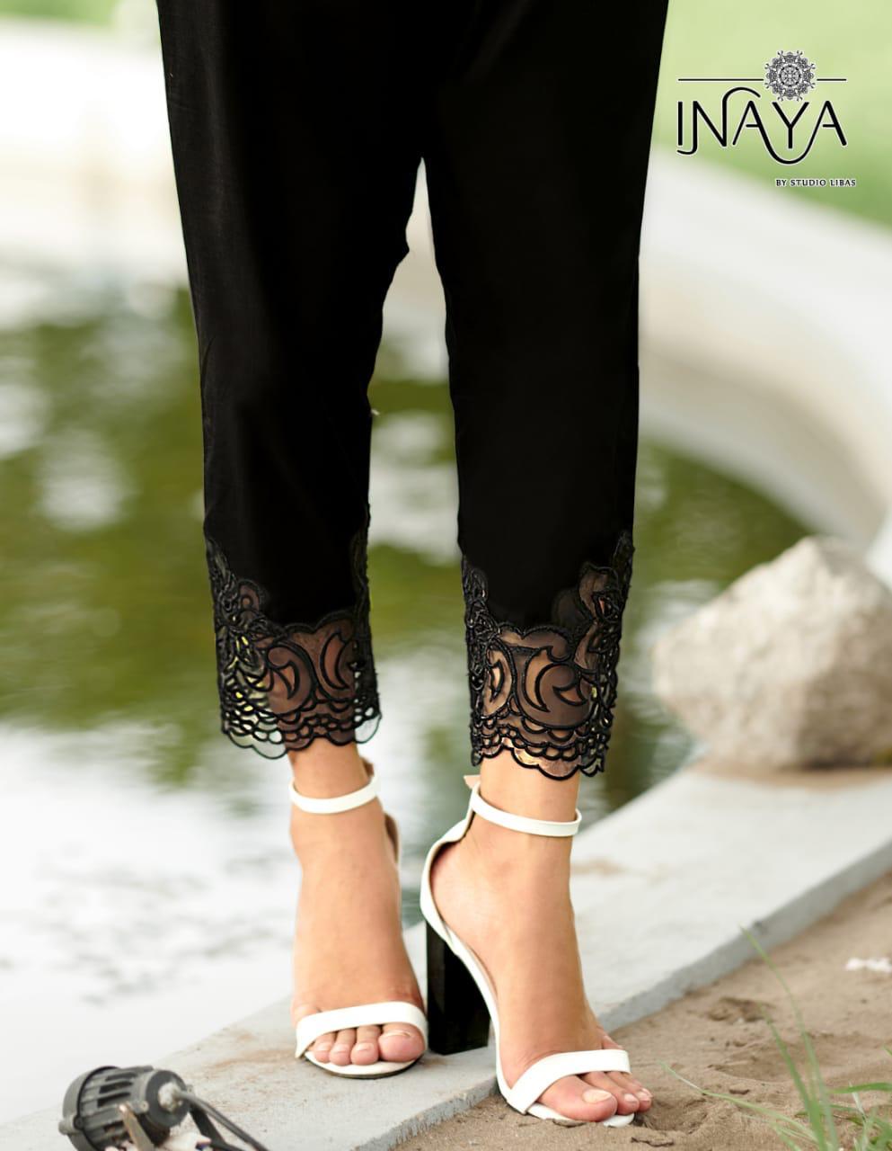 Classy Salwar Pants By Inaya Studio Libas Cotton Satin Fancy Pants Collection