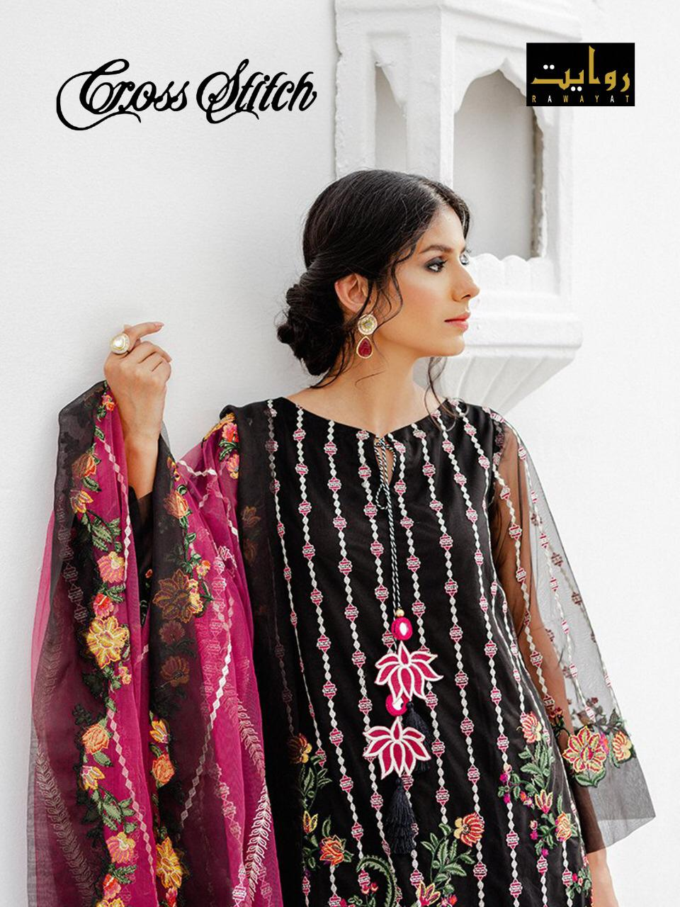 Cross Stitch Chiffon By Rawayat Georgette With Embroidery Work Exclusive Pakistani Suits