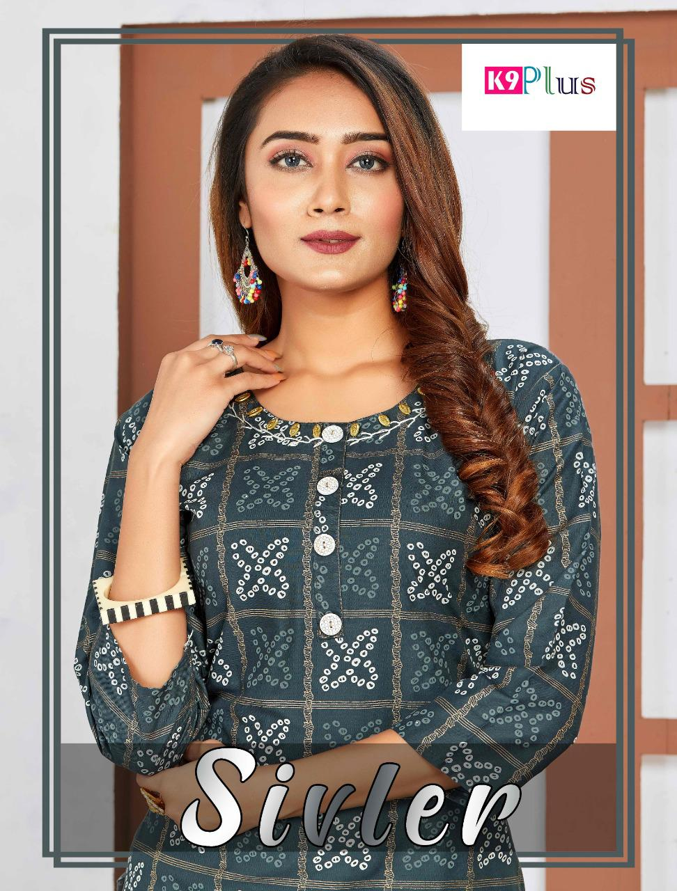 K9 Plus Launch Silver Rayon With Embroidery Work Long Kurti With Skirt And Sharara Collections