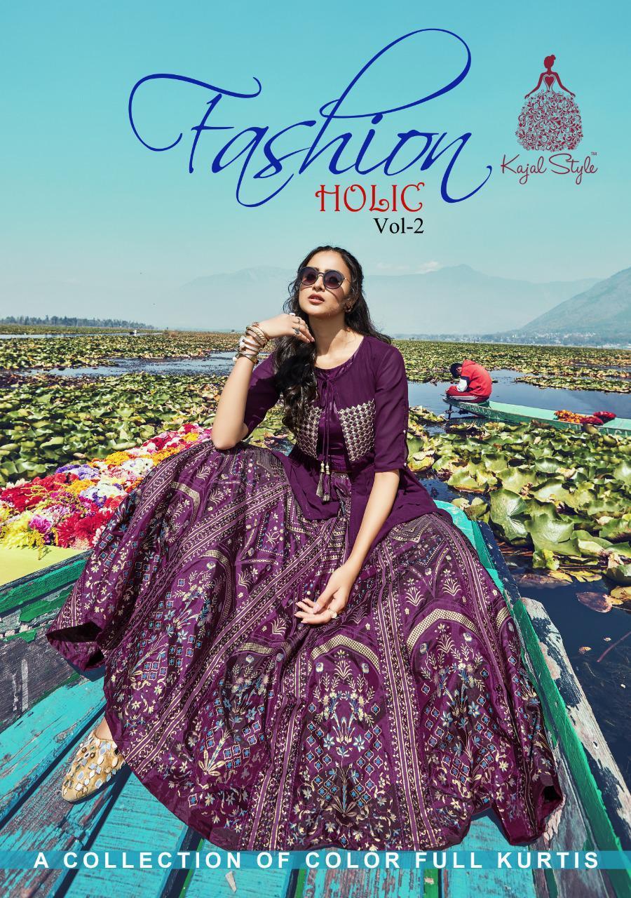 Kajal Style Presents Fashion Holic Vol 2 Rayon Print Long Designer Kurti With Skirt Plazzo