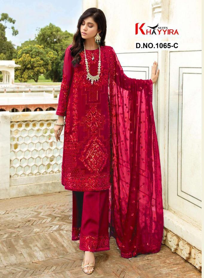 Khayyira Suits D No 1065 Eleonora Georgette With Heavy Embroidery Pakistani Suit Concept