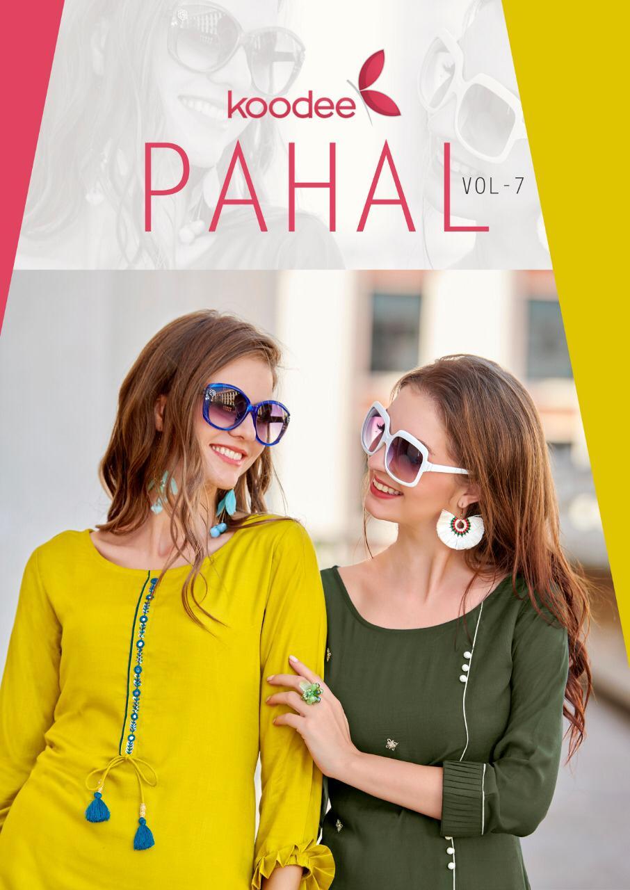 Koodee Pahal Vol 7 Rayon Hanwork Casual Wear Straight Kurtis