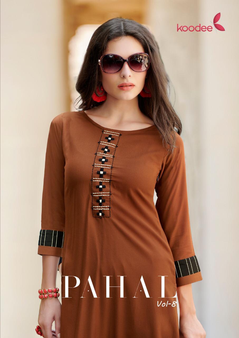 Koodee Pahal Vol 8 Rayon Exclusive Embroidery Work Casual Ladies Wear Kurti