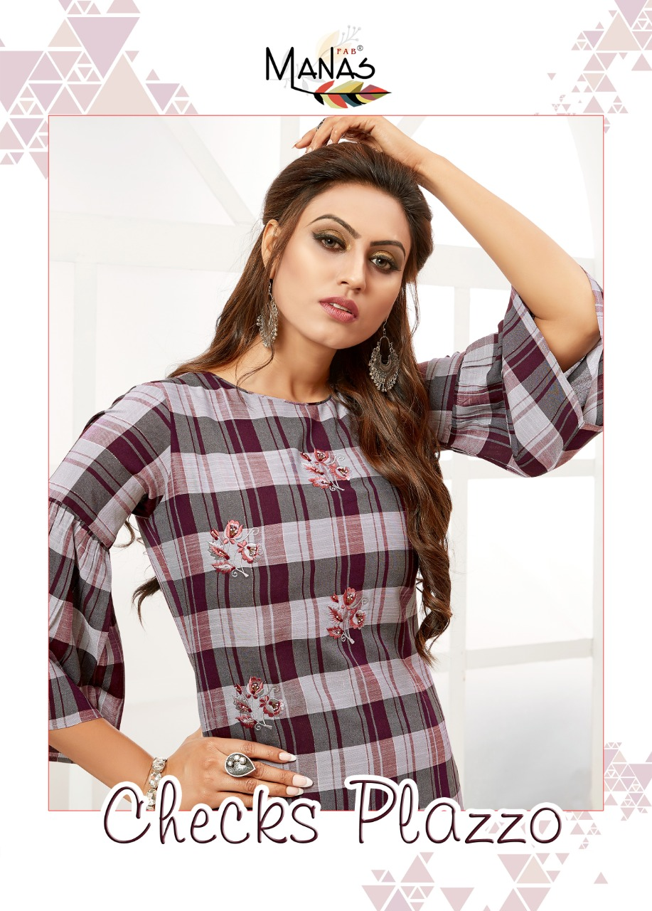 Manas Checks Plazzo Rayon Embroidery Work Top With Bottom At Affordable Rate
