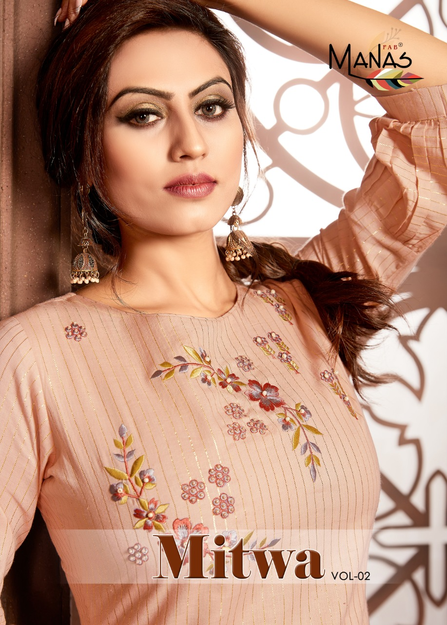 Manas Launch Mitwa Vol 2 Fancy Stylish Top Catalogs Collections In India