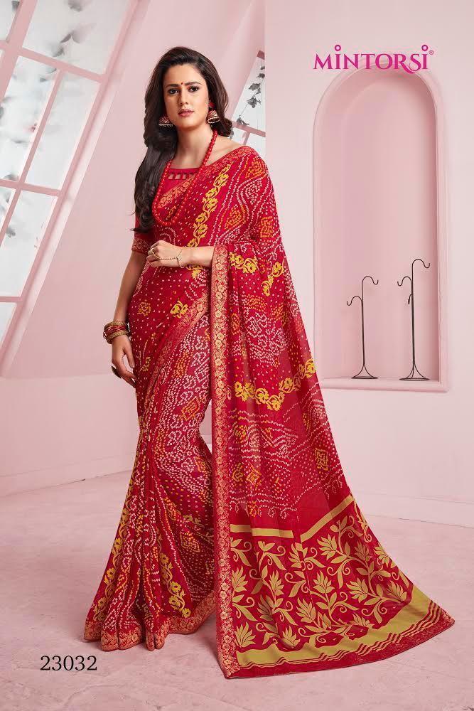 Mintorsi Mirangi Colour Georgette Printed Bandhej Style Saree