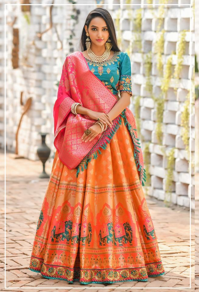 Peafowl Launch Peafowl Vol 60 Banarasi Silk Embroidery Work Attractive Look 103101037 Series Lehenga