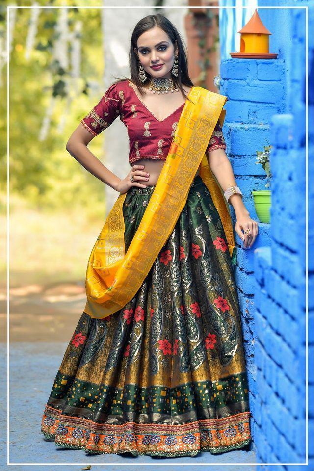 Peafowl Present Peafowl Vol 56 Banarasi Silk Festival Wear Lehenga Collections In India