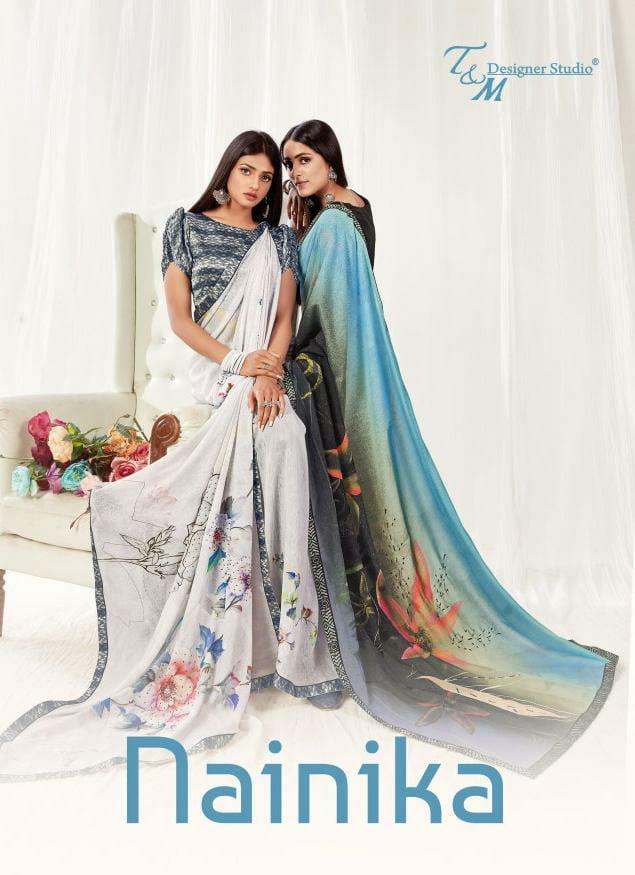 Sahiba T And M Launch Nainika Georgette Digital Print With Lace Border Saree