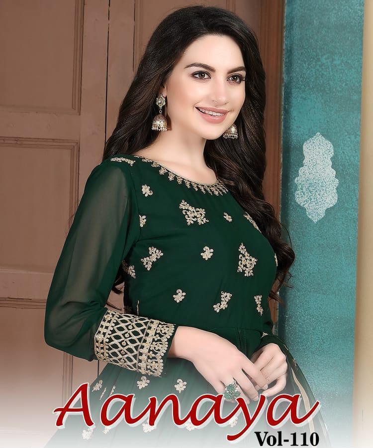 Twisha Presenting Aanaya Vol 110 Georgette Designer Long Stylish Party Wear Suits