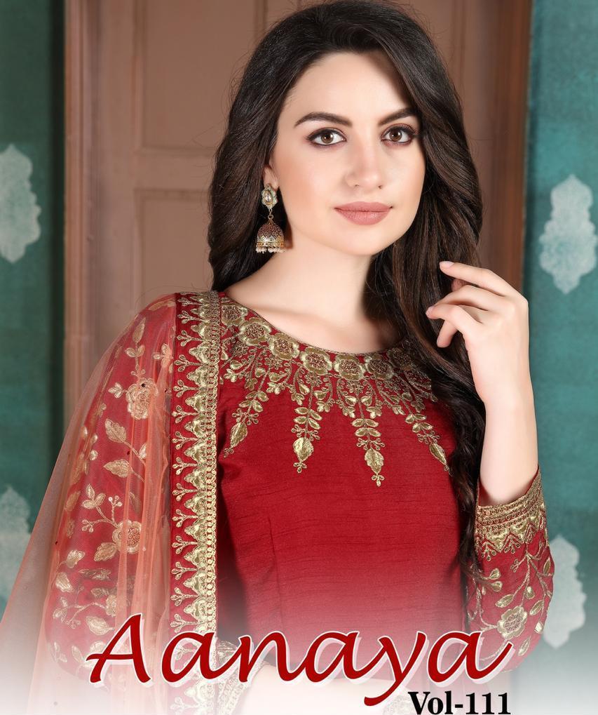 Twisha Presents Aanaya Vol 111 Silk Base Fancy Long Gown Style Salwar Suits Looking Pretty