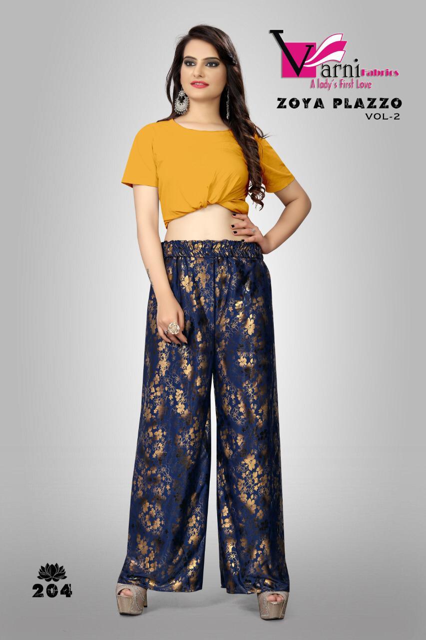 Varni Fabrics Launch Zoya Plazzo Vol 2 Imported Lycra Special Plazzo Collections