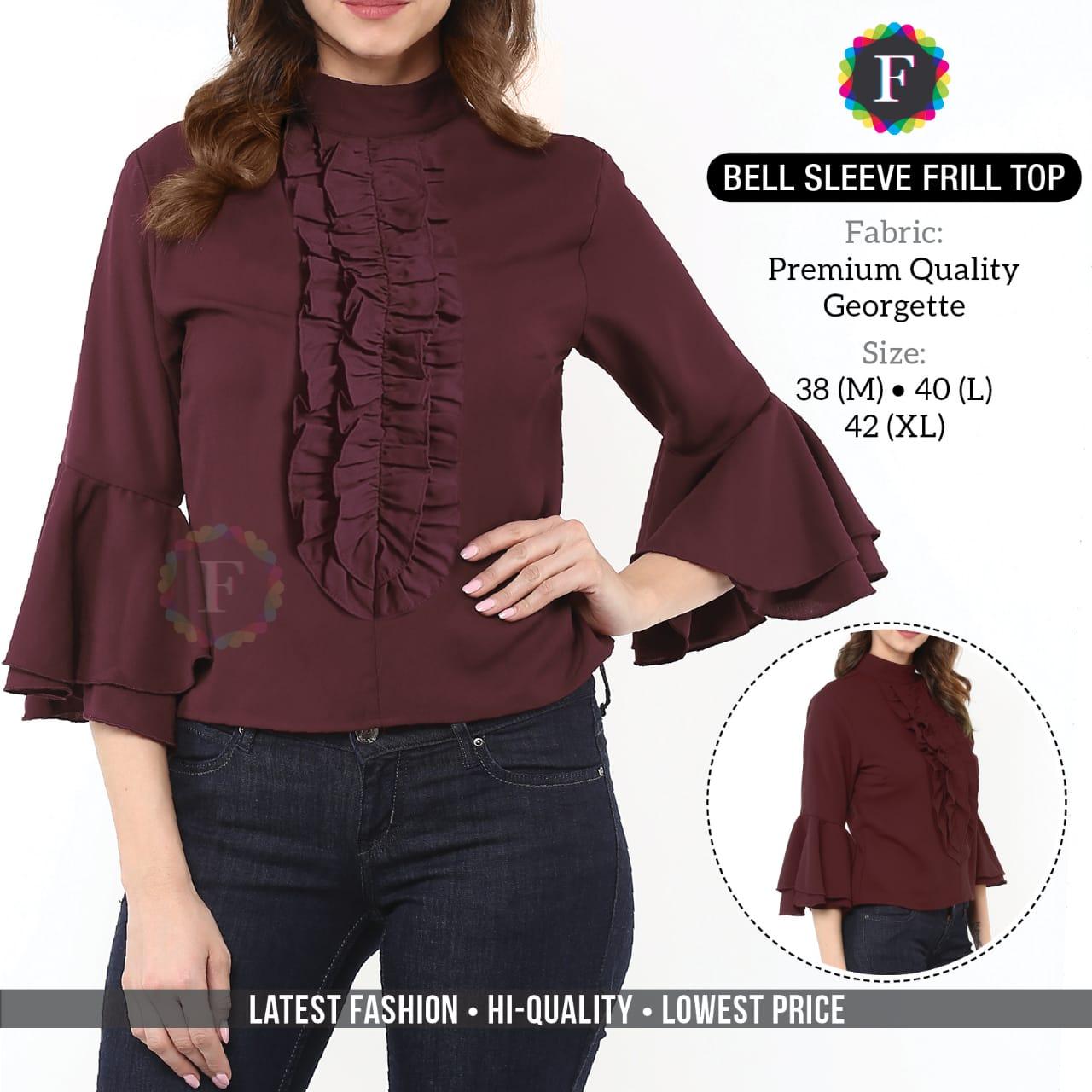 Bell Sleeve Frill Top Western Wear Girls Tops Buy Online Shopping