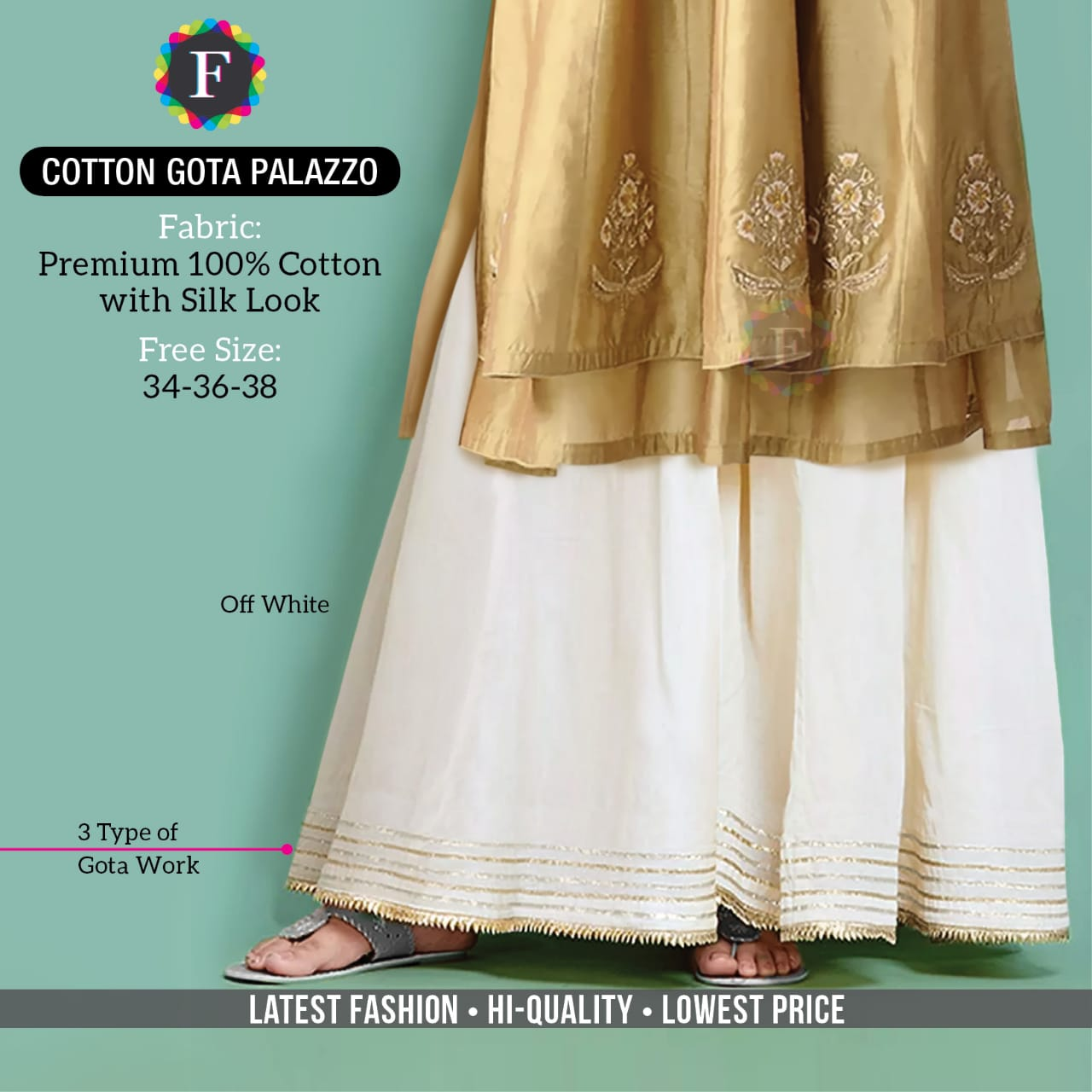Cotton Gota Palazzo Summer Wear Special Bottom Wear Collection