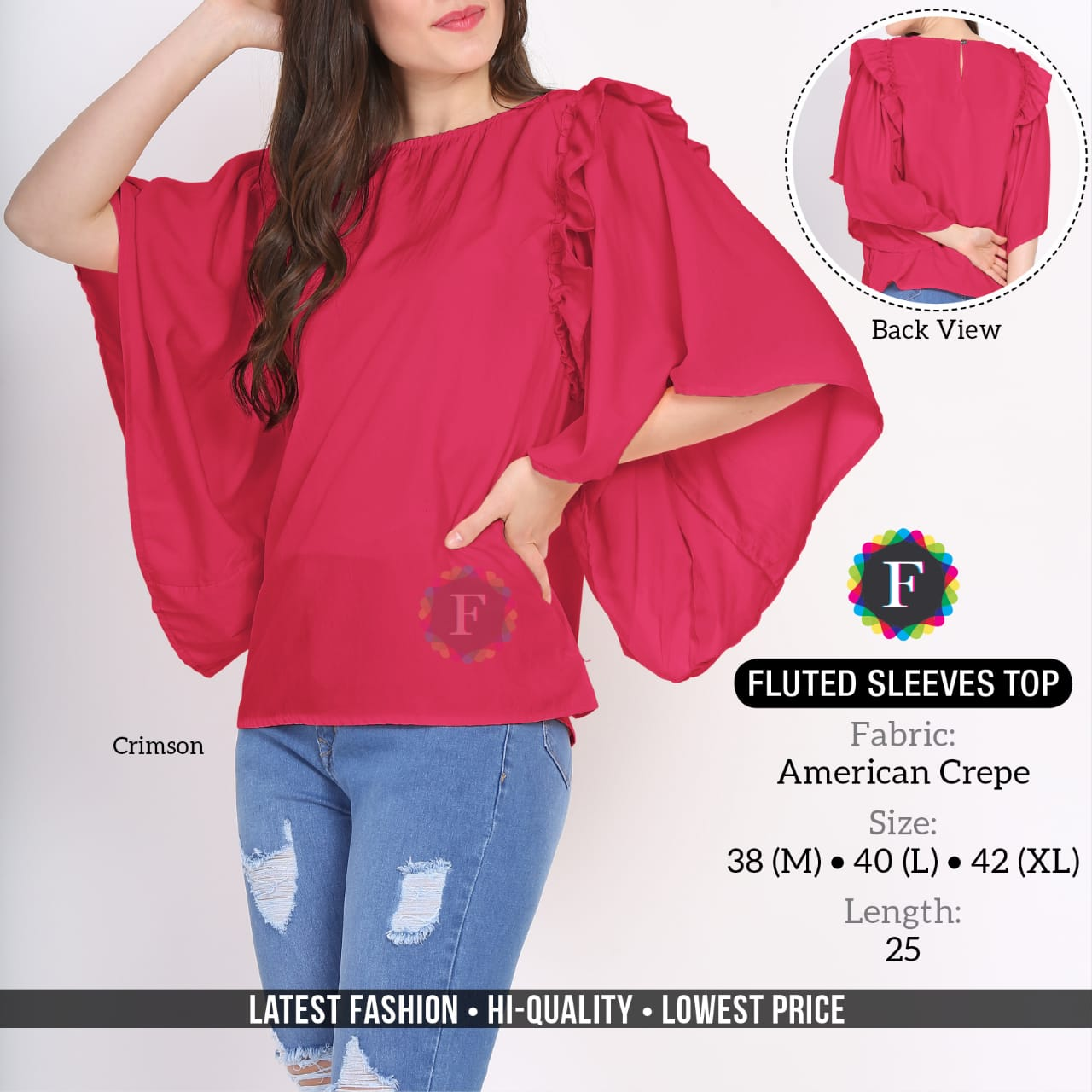 Fluted Sleeves Top Western Style Girls Tops Wholesaler