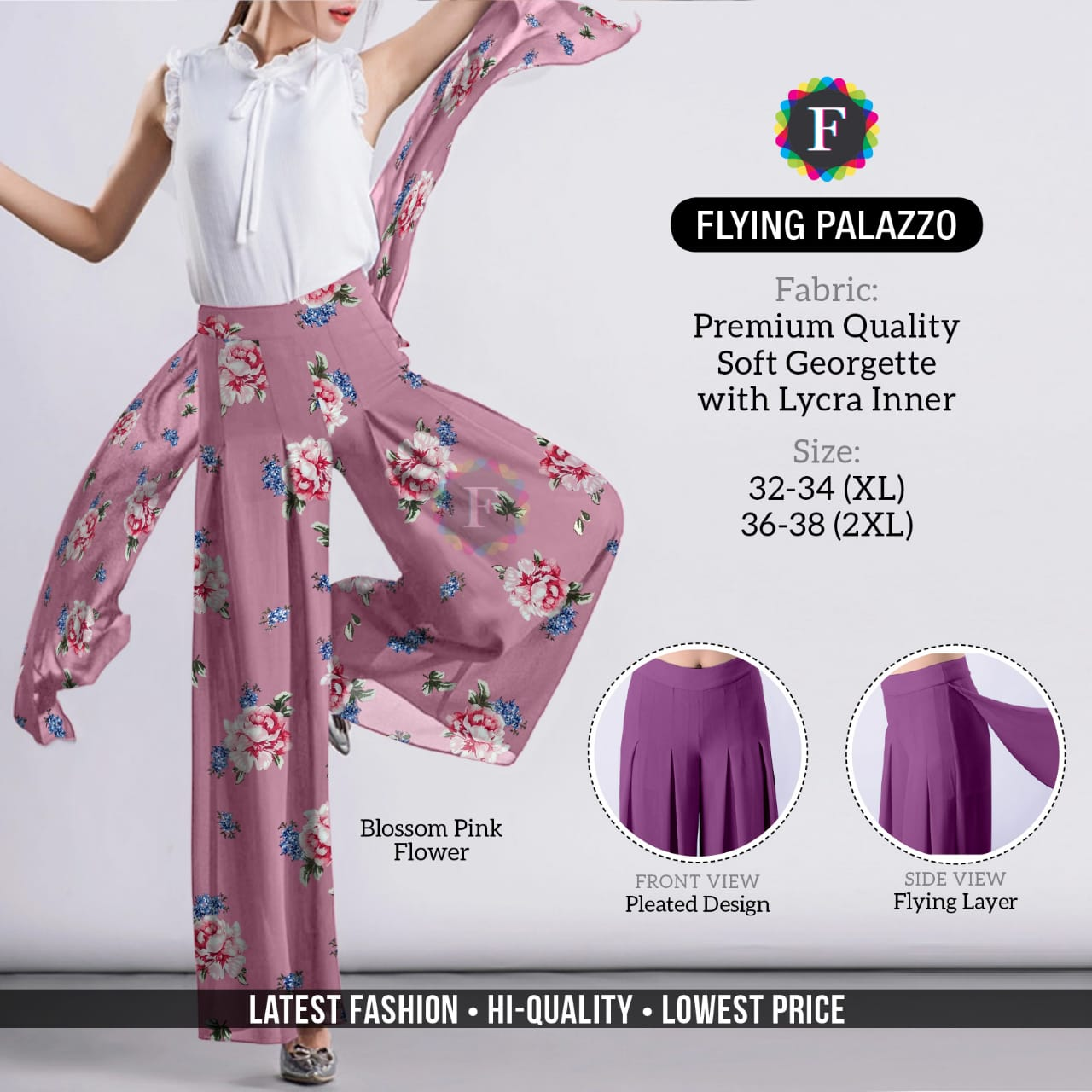 Flying Palazzo Soft Georgette Bottom Wear Palazzo Collection At Best Rates