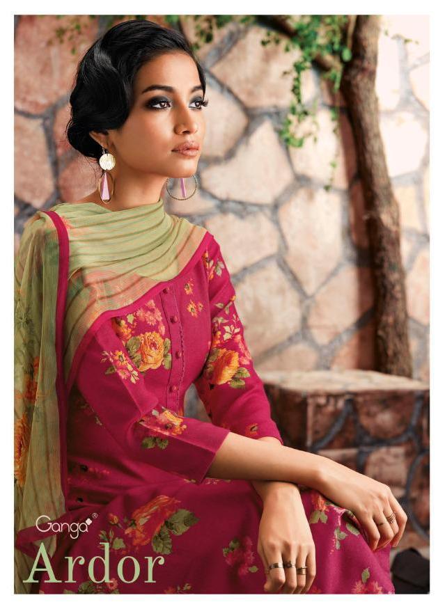 Ganga Launch Ardor Wool Dobby Printed Swarovski Work Salwar Kameez