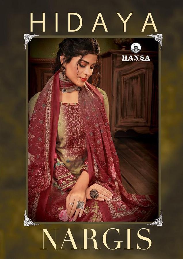 Hansa Hidaya Nargis Pashmina Digital Print With Handwork Dress Materials