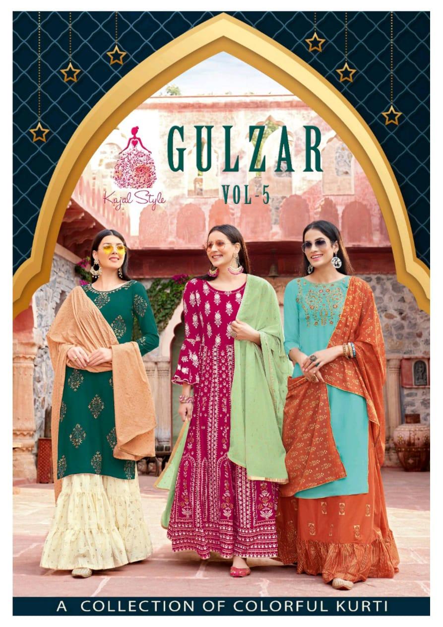 Kajal Style Gulzar Vol 5 Rayon Cotton Kurti With Skirt Plazzo And Sharara With Dupatta