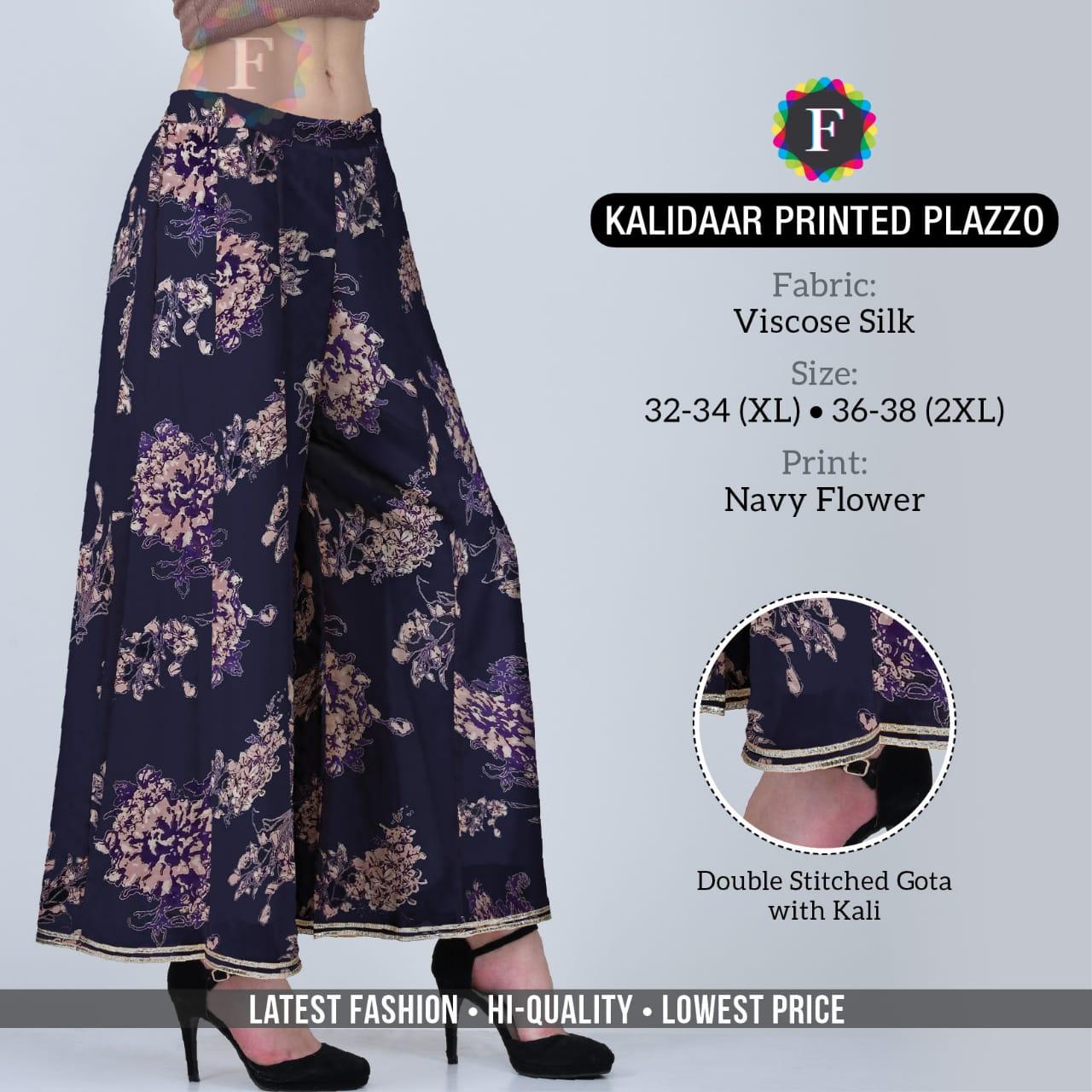 Kalidaar Printed Palazzo Ladies Bottom Wear Plazzo Clothing Store