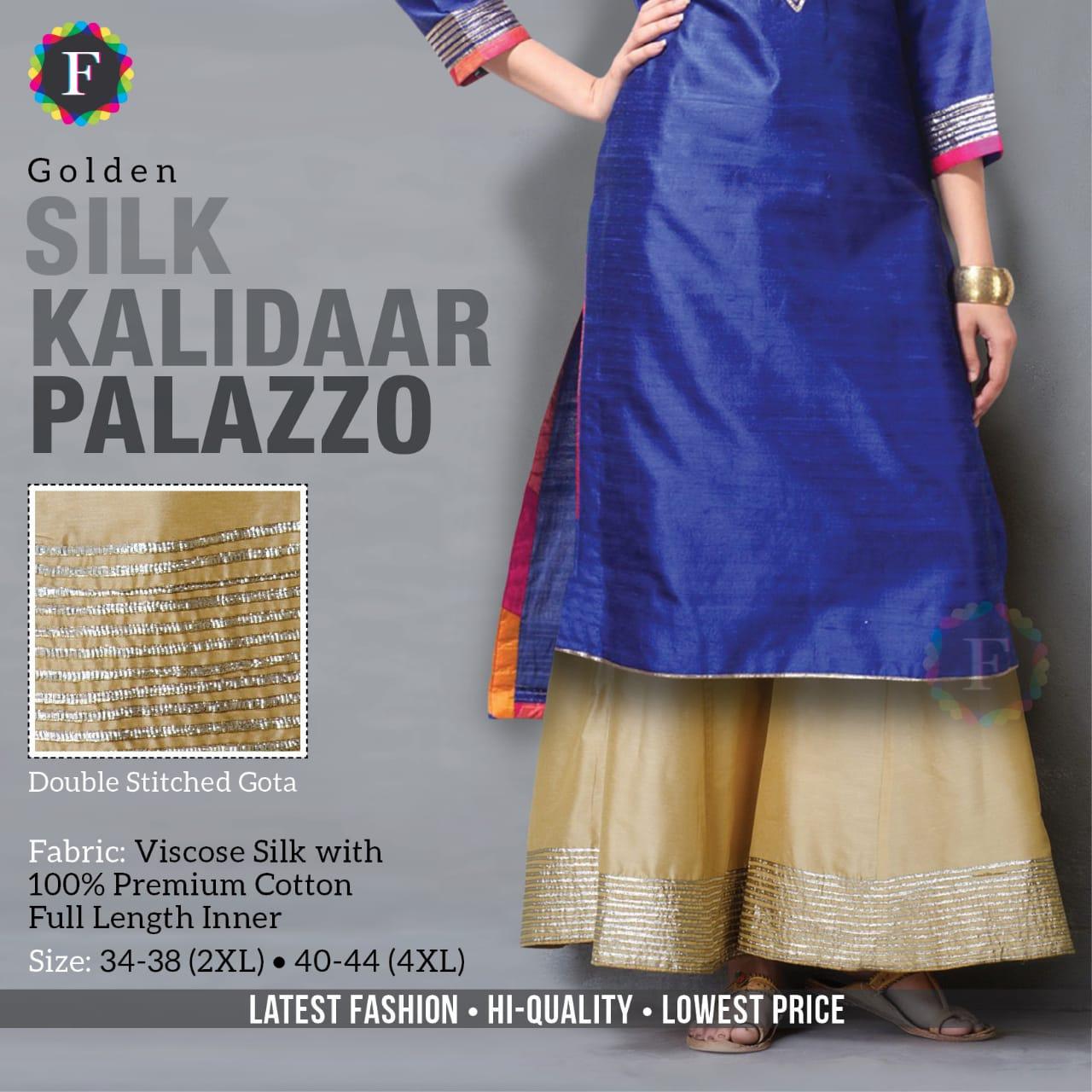 Kalidaar Silk Palazzo Ethnic Cotton Silk Bottom Wear Plazzo Collection