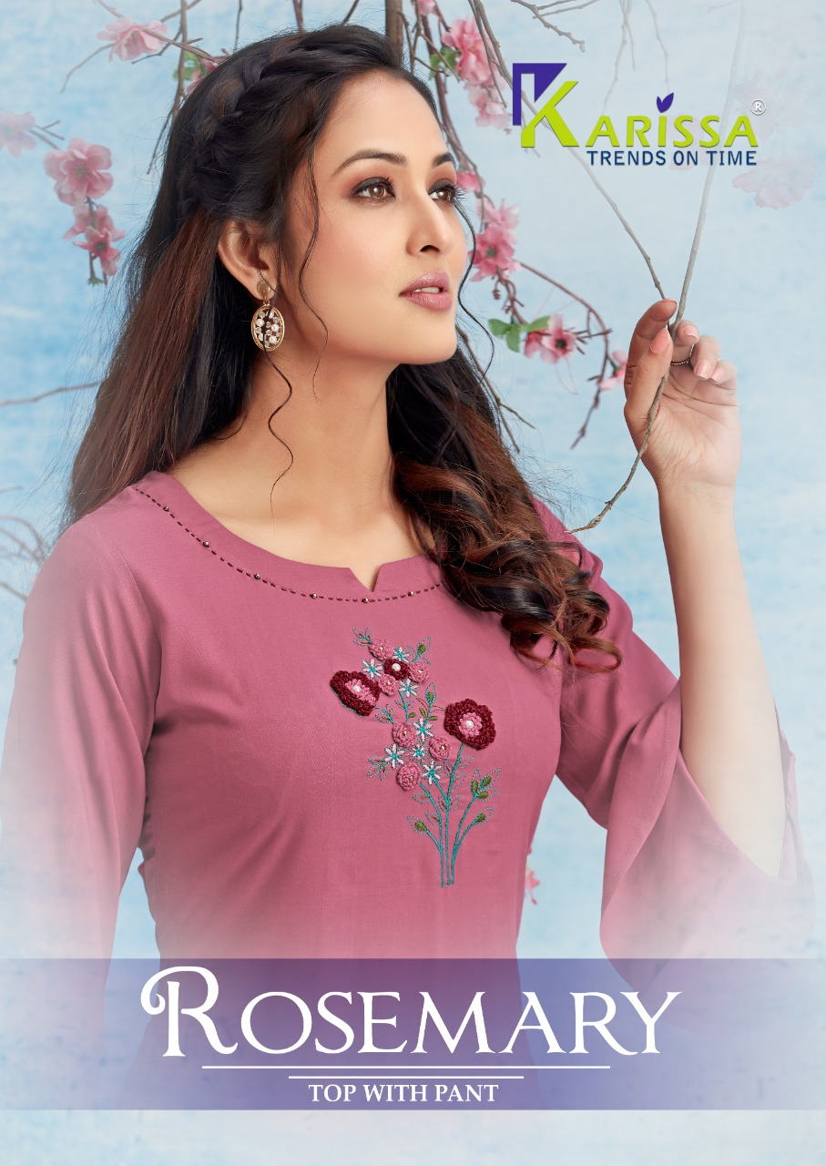 Karissa Launch Rosemary Rayon Comfortable To Wear Kurti With Bottom Wholesaler