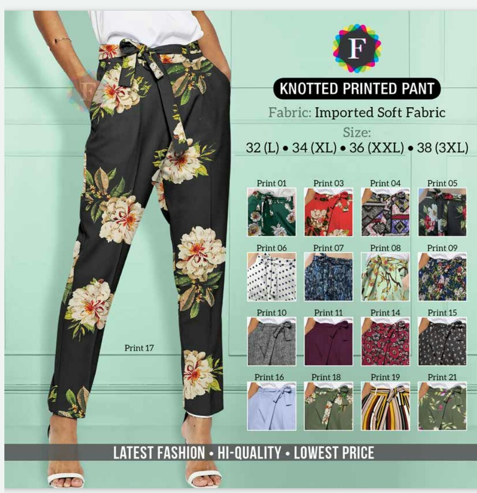 Knotted Printed Pant Western Wear Bottom Pants Collection