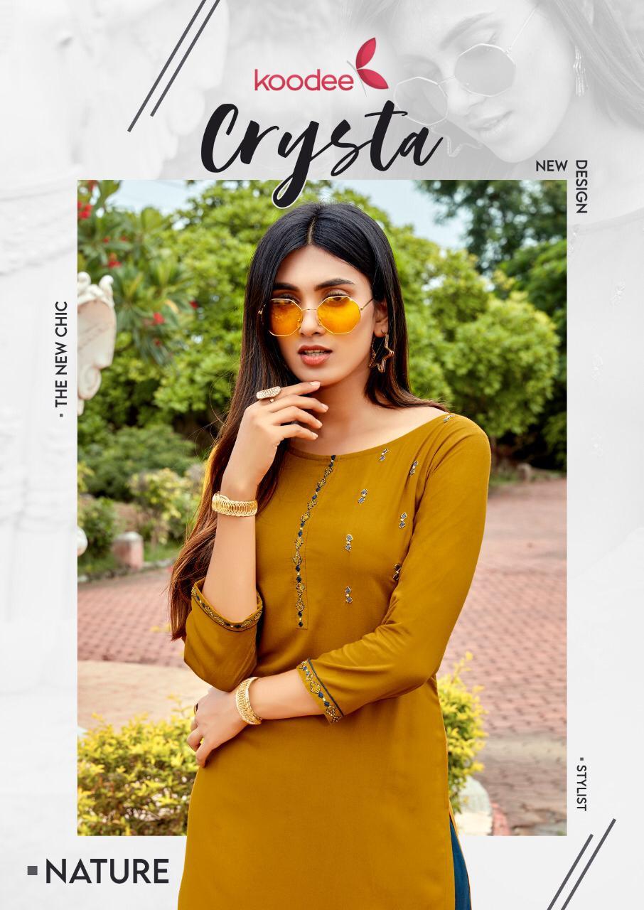 Koodee Launch Crysta Rayon Exclusive Designer Kurti With Plazzo Online Shopping