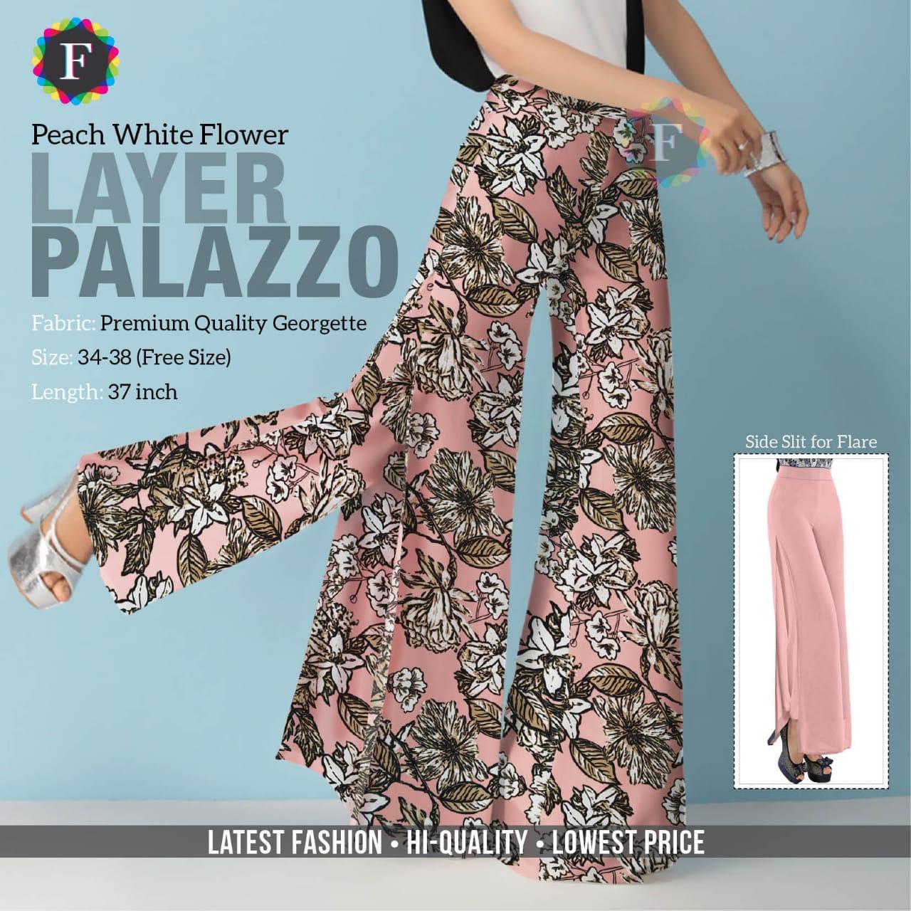 Layered Palazzo Bottom Wear Printed Plazzo Plaint Plazzo Collection