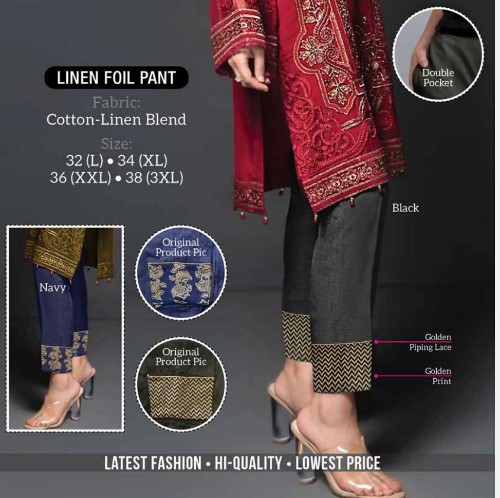 Linen Foil Pant Exclusive Bottom Wear Trouser Collection