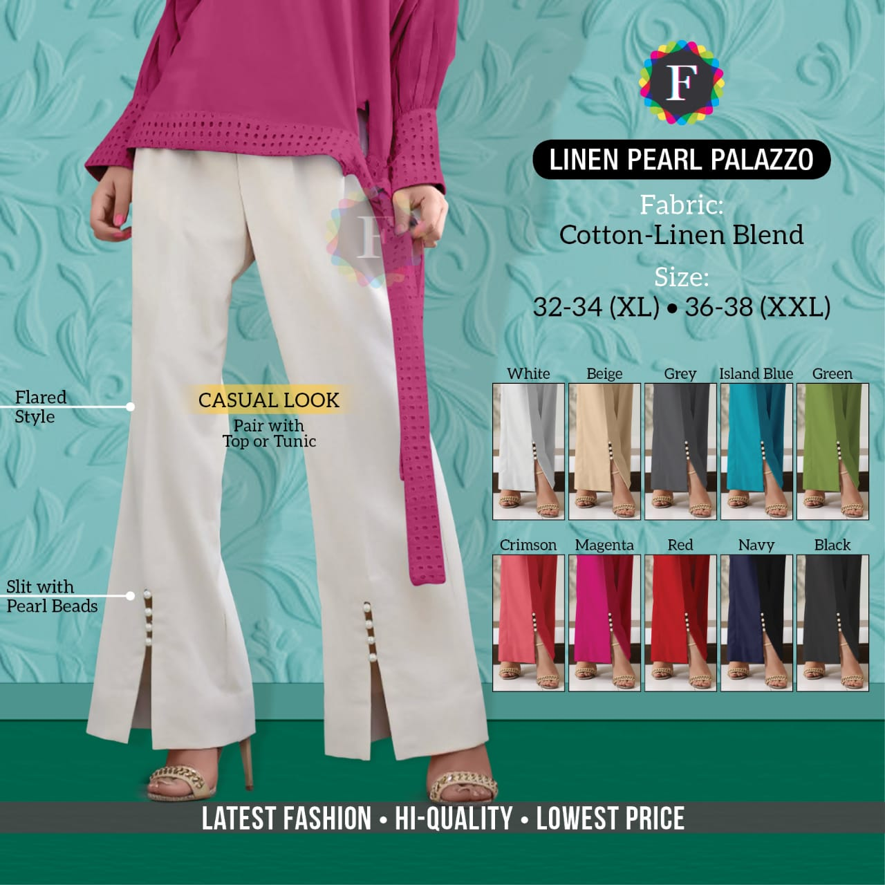 Linen Pearl Palazzo Trendy Ethnic Wear Bottom Stylish Plazzo Collection