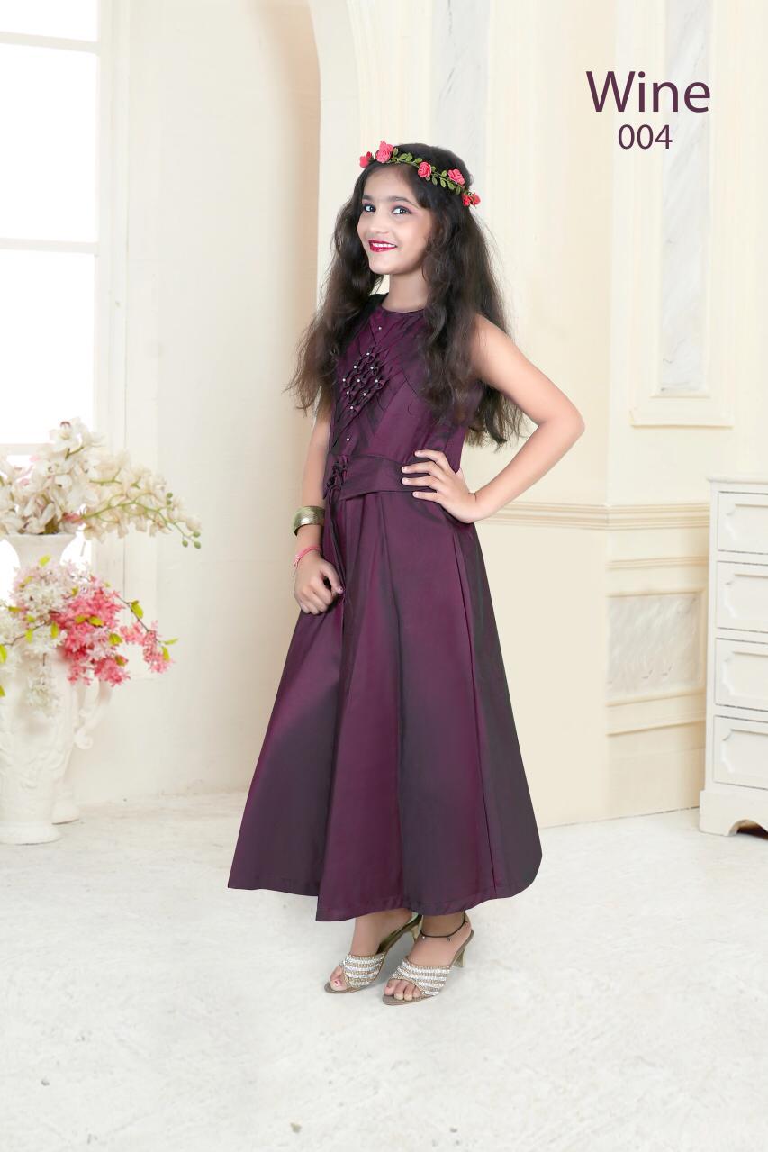 New Kids Gown By Nidisha Taffeta Satin Designer Kids Gown Collection