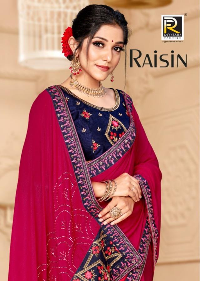 Ranjna Saree Presents Raisin Fancy Vichitra Silk With Border Concept Saree Online Seller